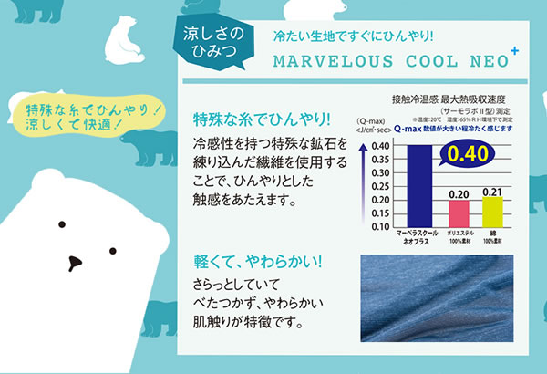 ひんやりクール クォーターケット 70×100cm【寝具/春夏用】の冷たさの秘密説明画像