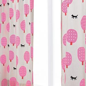 マタノアツコ(俣野温子)カーテン 猫と木 1枚入【北欧インテリア】ピンクの使用詳細画像