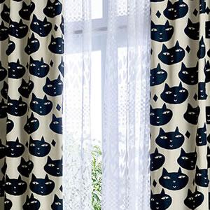 マタノアツコ(俣野温子)カーテン 猫 1枚入【北欧インテリア】ブラックの使用詳細画像
