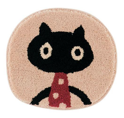 マタノアツコ(俣野温子)チェアパッド MEME 33×37cm【丸/猫/おしゃれ】アイボリーの全体詳細画像