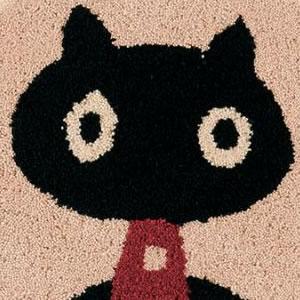 マタノアツコ(俣野温子)チェアパッド MEME 33×37cm【丸/猫/おしゃれ】アイボリーの詳細画像