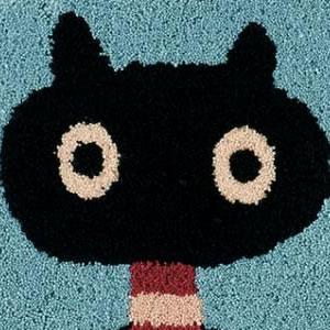 マタノアツコ(俣野温子)チェアパッド MEME 33×37cm【丸/猫/おしゃれ】ブルーの詳細画像