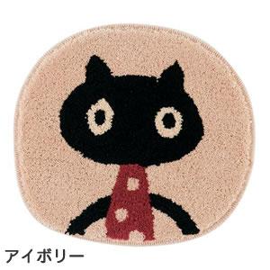 マタノアツコ(俣野温子)チェアパッド MEME 33×37cm【丸/猫/おしゃれ】アイボリーの全体画像