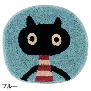 マタノアツコ(俣野温子)チェアパッド MEME 33×37cm【丸/猫/おしゃれ】ブルーの全体画像