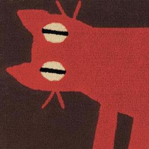 マタノアツコ(俣野温子)ラグマット 見つめる猫【北欧風/おしゃれ】ブラウンの詳細画像