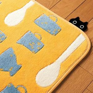 マタノアツコ(俣野温子)キッチンマット 食卓【猫/おしゃれ】イエローの詳細画像