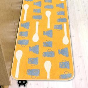 マタノアツコ(俣野温子)キッチンマット 食卓【猫/おしゃれ】イエローの使用画像