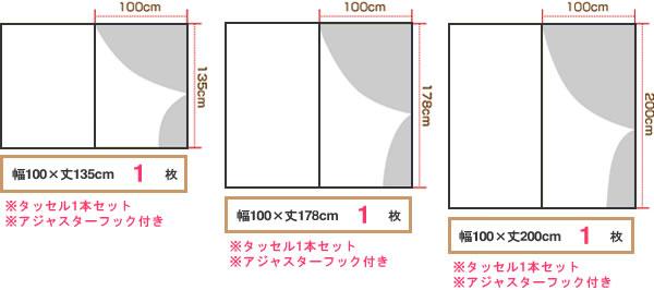 マタノアツコ(俣野温子)カーテン 猫 1枚入【北欧インテリア】の一般的な既製サイズ3種画像