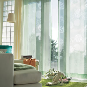 アスワンの北欧風ミラーレースカーテン ガナシュ 1枚入【遮熱/UVカット/北欧風カーテン】グリーンの使用画像