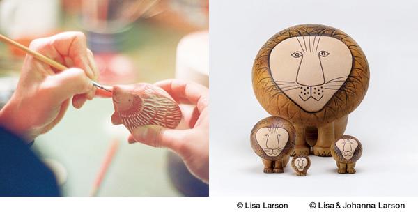 リサ・ラーソン(Lisa Larson)がデザインした木彫りのハリネズミとライオンの画像。