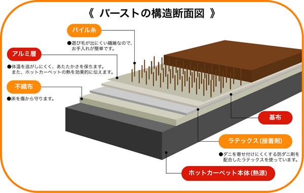 アスワン ラグマット(秋・冬)ヒートウール【+2℃/防ダニカーペット】の構造断面図画像