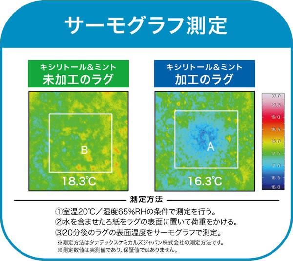 クールラグマット スーパークールストリーム【春・夏用/おしゃれ】のサーモグラフ
