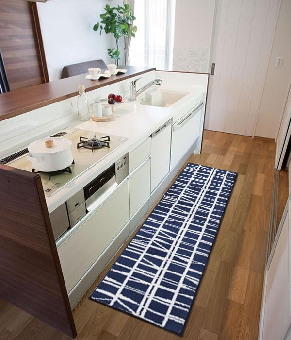 フィンレイソン キッチンマット CORONNA(コロナ)【洗える/北欧インテリア】ネイビーの全体画像