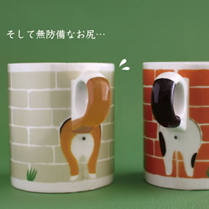 デコレ(DECOLE)塀からこんにちはマグ【柴犬とハチワレ猫/キッチン雑貨】の使用画像