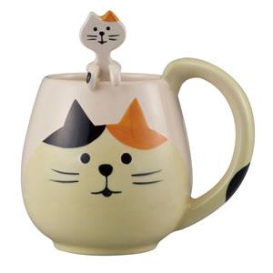 デコレ(DECOLE)まんまるマグ&スプーンセット 三毛猫【おしゃれ/キッチン雑貨】の単体画像