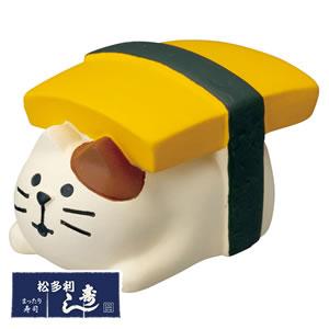 デコレ(DECOLE)コンコンブル まったり寿司 おにぎり猫 にぎりとまと【置物】の全体画像