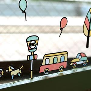 デコレ(DECOLE)ステンドグラス ステッカー PARIS-SALUTの使用画像。
