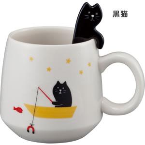 デコレ(DECOLE)concombre まったり猫スプーン付きマグの黒猫詳細画像