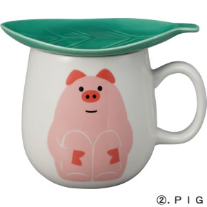 デコレ(DECOLE)concombre 葉っぱマグ【食器/マグカップ】ピッグの全体画像