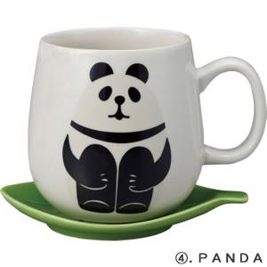 デコレ(DECOLE)concombre 葉っぱマグ【食器/マグカップ】パンダの全体画像