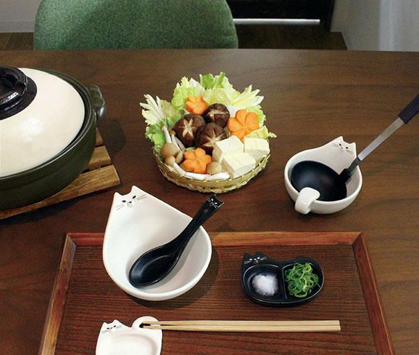 デコレ(DECOLE)モノネコオナベ レンゲ&箸置き【猫食器/鍋物】のディスプレイ画像