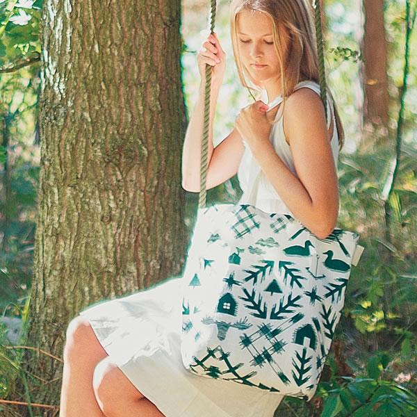 サーナ ヤ オッリ(SAANA JA OLLI)キャンバスバッグS ノースランド【北欧雑貨/フィンランド】グリーンの展示画像