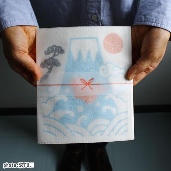 スポンジワイプ ごあいさつワイプ富士山 波FUJI 17×20cm【北欧雑貨/キッチン雑貨】の画像