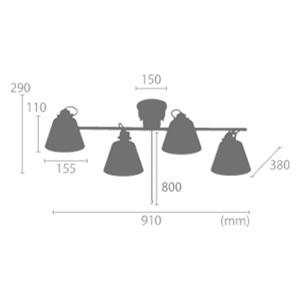 ル・チェルカ(LuCerca)4灯シーリングスポットライト フラッグス(FLAGS)【おしゃれ/LED照明】のサイズ詳細画像