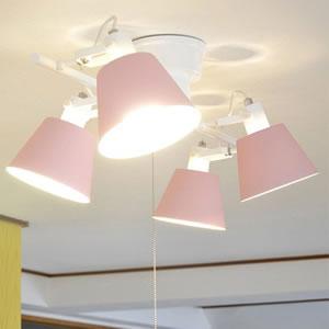 ル・チェルカ(LuCerca)4灯シーリングスポットライト フラッグス(FLAGS)【おしゃれ/LED照明】ピンクの使用画像