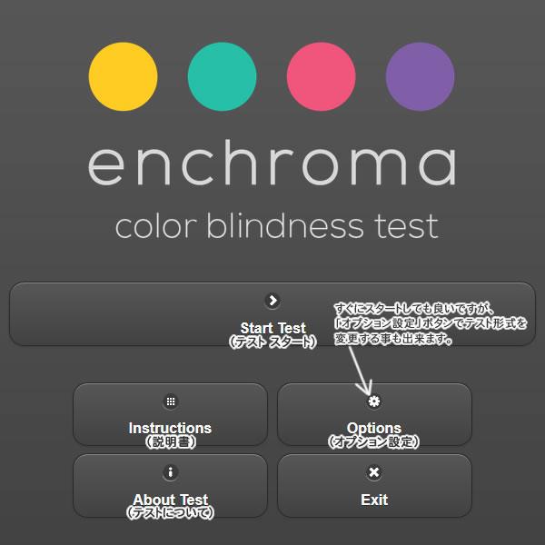 色覚補正メガネ エンクロマ(EnChroma)のカラーブラインドテストのトップページ日本語説明画像