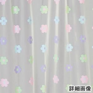 遮像カフェカーテン フラワー 各サイズ【小窓用/浴室/洗面所】の詳細画像