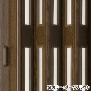 木製風窓付きパネルドア クレア ダークブラウン色(オーダー)【間仕切り/アコーディオン】の小窓部分詳細画像
