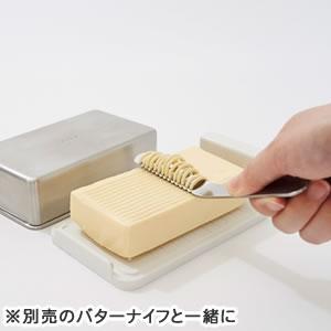 EAトCO バターケースコンテナ【保存容器】と別売のバターナイフ画像