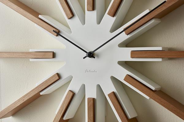 掛け時計 シリオ(Sirio)【北欧/木製/インテリア】ホワイトの詳細画像
