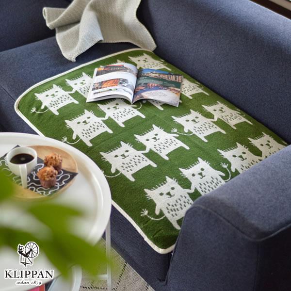 クリッパン(KLIPPAN)ミニブランケット ボブキャット W70×L90cm【ベビー/北欧雑貨】グリーンの使用画像