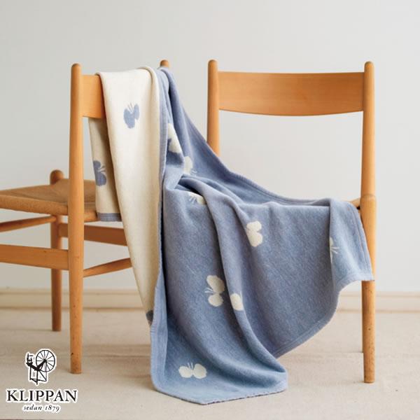 クリッパン(KLIPPAN)コットンブランケット CHOUCHO ハーフ W90×L140cm【北欧雑貨】ブルーの使用画像