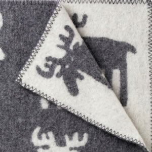 クリッパン(KLIPPAN)ウールブランケット ムース ハーフ W90×L130cm【北欧雑貨】グレーの詳細画像