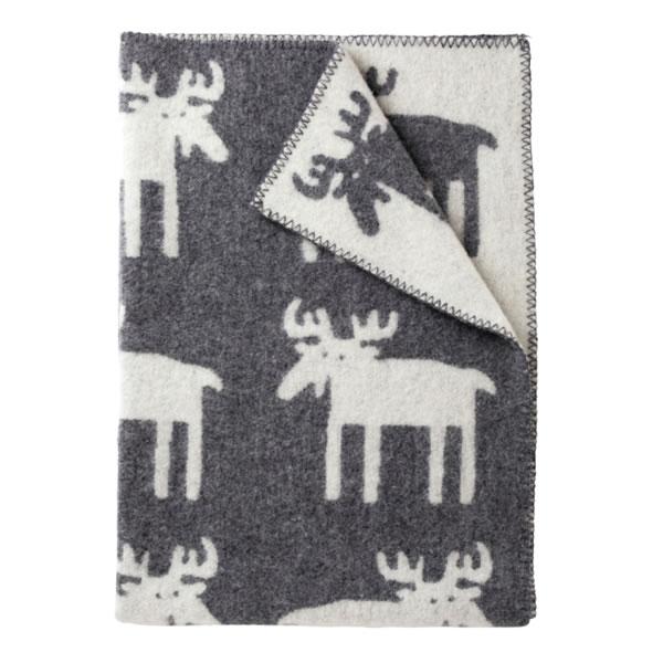 クリッパン(KLIPPAN)ウールブランケット ムース ハーフ W90×L130cm【北欧雑貨】グレーの全体画像