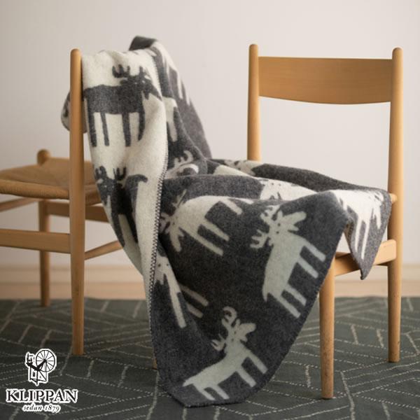 クリッパン(KLIPPAN)ウールブランケット ムース ハーフ W90×L130cm【北欧雑貨】グレーの使用画像