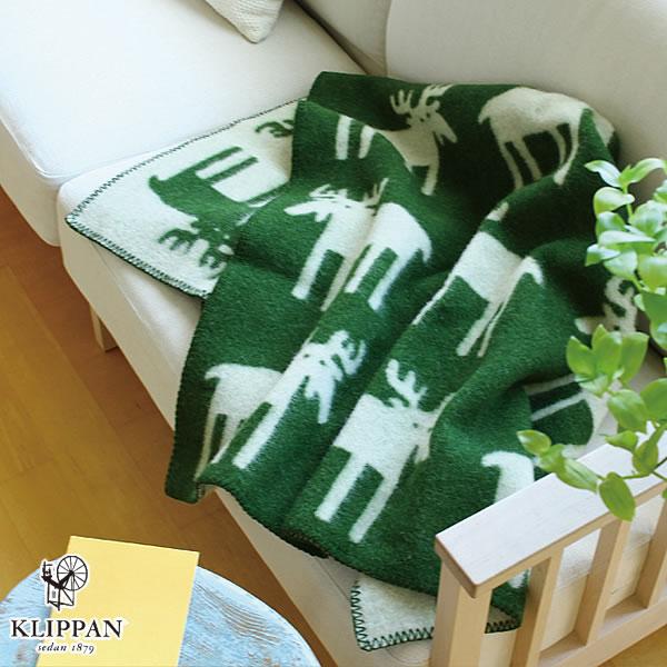 クリッパン(KLIPPAN)ウールブランケット ムース ハーフ W90×L130cm【北欧雑貨】グリーンの使用画像