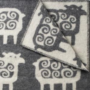 クリッパン(KLIPPAN)ウールブランケット ヒツジ シングル W130×L180cm【北欧雑貨】グレーの詳細画像