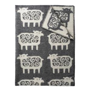 クリッパン(KLIPPAN)ウールブランケット ヒツジ シングル W130×L180cm【北欧雑貨】グレーの全体画像