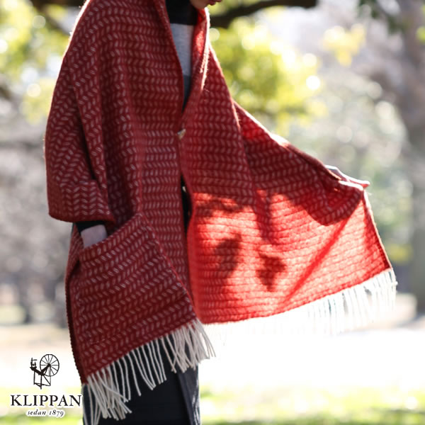 クリッパン(KLIPPAN)プレミアムストール リーフ 1ポケット【おしゃれ/北欧ファッション】レッドの使用画像