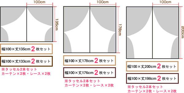 既製カーテン NCマチス 4枚セット【新生活/模様替え/インテリア】のサイズを表すイメージ画像1