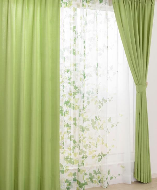 既製カーテン CEリーフ 4枚セット【新生活/模様替え/インテリア】グリーンのディスプレイ画像