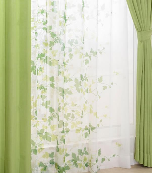 既製カーテン CEリーフ 4枚セット【新生活/模様替え/インテリア】グリーンの全体画像