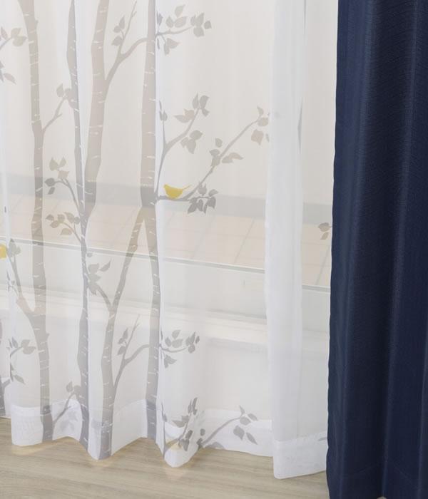 既製カーテン NCシラカバ 4枚セット【新生活/模様替え/インテリア】ネイビーの全体画像