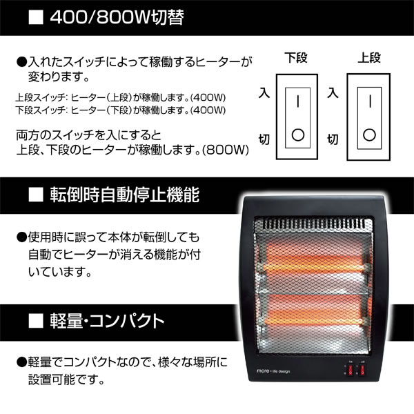 石英管 電気ヒーター SEM10【電気ストーブ】の説明画像