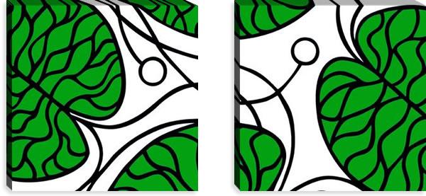 マリメッコ ファブリックパネル ボットナ(Bottna)450×450×30mm×2枚【北欧雑貨/北欧生地】グリーンの画像