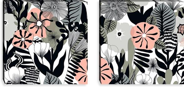マリメッコ ファブリックパネル カスヴ(Kasvu)600×600×30mm×2枚【北欧雑貨/北欧生地】ホワイトの画像